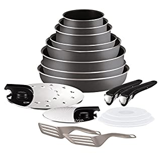 Tefal Ingenio 5 l2049002 Essential Set of 17 Charcoal All Heat Sources Except Induction: 3 Saucepans + 3 Frying Pans + Wok + 1 Frying Pan 2 Handles + 7 Accessories