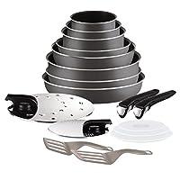 Batterie de cuisine 17 pieces en aluminium comprenant : 3 casseroles 16-18-20 cm, 3 poeles 22-26-28 cm, 1 couvercle antigras 20 a 28 cm, 1 couvercle �gouttoir, 3 couvercles herm�tiques 16-18-20 cm, 1 spatule longue, spatule a angle Enjoy Cass...