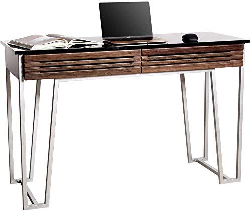 MDA Designs - Escritorio ordenador madera nogal cristal