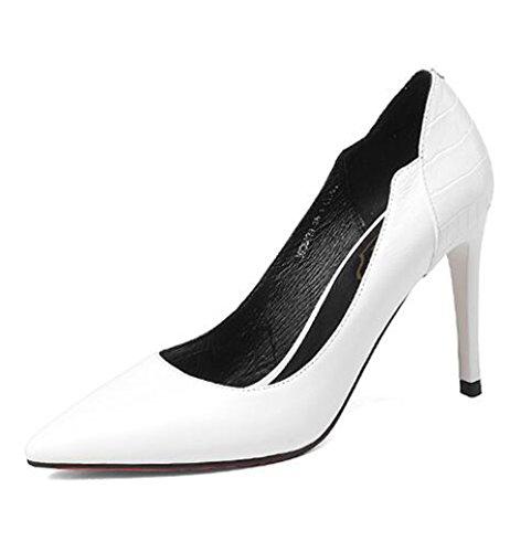 Frauen Leder Spitz Schuhe Mit Hohen Absätzen Hof Schuhe Arbeit Büro Party Kleid Pumpen (schwarz Weiß),White-EU:35/UK:3 (Pointy-zehe-schuhe)