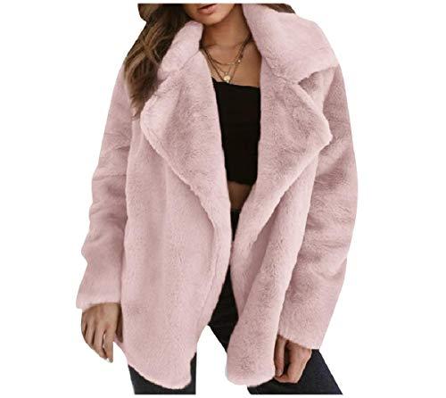 CuteRose Women Open-Front Luxurious Solid Color Warm Outwear Coat Pink XS -
