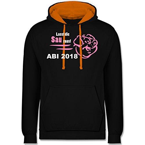 Abi & Abschluss - Lasst die Sau raus - ABI 2018 - Kontrast Hoodie Schwarz/Orange
