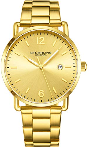 Stuhrling Original Mens Watch Leather or Bracelet Watch Band Silver Dial with Date Minimalist Style 38mm Case - 3901 Watches for Men Collection (Gold)