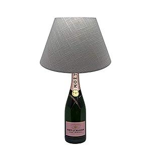 Dekoflasche Champagner Rosé – Moet & Chandon Rosé – originelle Dekolampe Tischlampe mit Stoffschirm I individuelle Tischleuchte E27 modern – Stehlampe Flaschenlicht Dekoleuchte