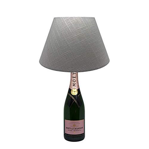 Dekoflasche Champagner Rosé - Moet & Chandon Rosé - originelle Dekolampe Tischlampe mit Stoffschirm I individuelle Tischleuchte E27 modern - Stehlampe Flaschenlicht Dekoleuchte - Stoffschirm Glas
