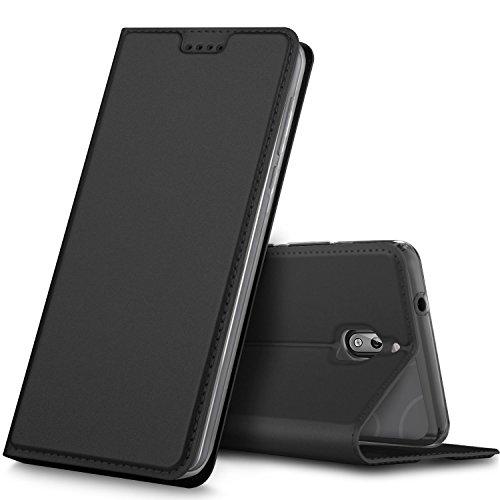 GeeMai Nokia 2.1 Hülle, Premium Leder Hülle Flip Case Tasche Cover Hüllen mit Magnetverschluss [Standfunktion] Schutzhülle handyhüllen Nokia 2.1 (2018) Smartphone Schwarz