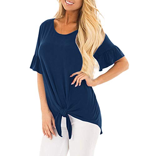 "UFACE Damen Sommer Lose T-Shirt Kurze Ã""rmel Lose Top Mode verknotet O-Neck Flare Sleeve Strap Kurzarm Top"