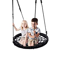 IFOYO Tree Swing, Round Kids Swing Safe Rope Swing Seat Strong Nest Swing Disc for Outdoor Backyard Playground for 3-10 Years Kids Children