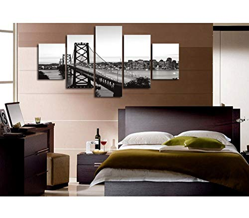 QinddooCity schwarz weiß Hängebrücke Landschaft Landschaftsmalerei Moderne Wand dekorative Bilder 5 Stück Wohnkultur-klein mit Rahmen