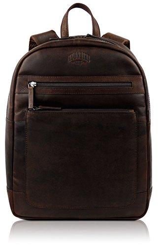 Klondike 1896 Echtleder Rucksack \'Sade\', schicker und robuster Backpack aus echtem Leder für Damen und Herren, Dunkelbraun