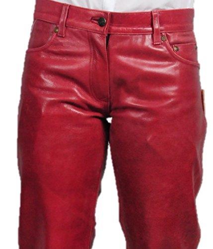 Lederhose Damen lang - Lederjeans Herren- Echt Leder, Lederhose Jeans 501 Rot- Motorrad Lederjeans- Fuente Moderne Lederhose in Rind Nappa antik Weinrot
