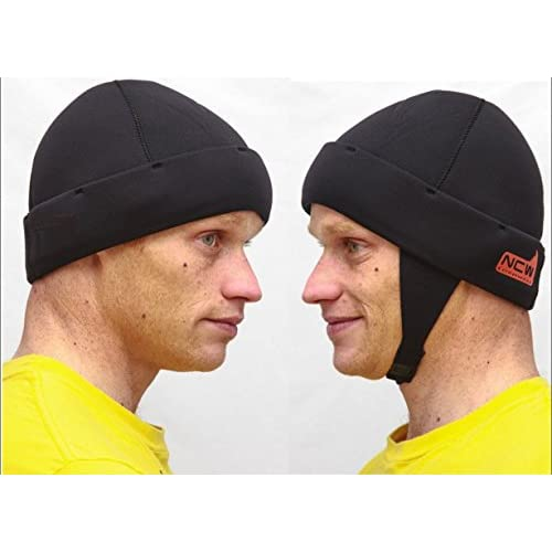 41Zb9bWsx0L. SS500  - NCW Cornwall Beanie Hat Made With 3mm Neoprene Stretchy Very and with optional under chin strap too Warm / Waterproof, Black