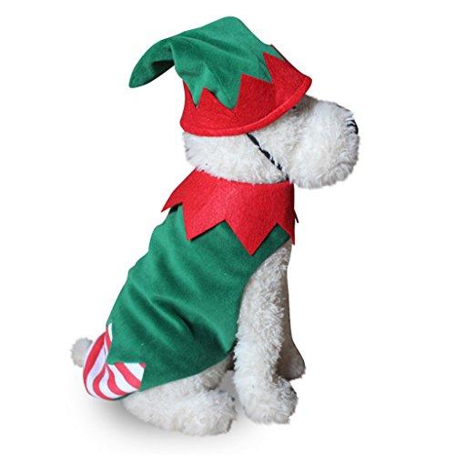 Elf Für Kostüm Hunde Weihnachten (AAA226 Weihnachten Elf Clown Hund Kostüm Scalloped Streifen Weihnachten Haustier Bekleidung Hut -)