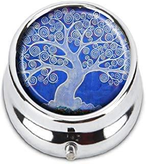 Guojew Baum des Lebens Custom Fashion Rund Pillendose Tablet Halter Pocket Geldbörse Organizer Case Dekoration Box (Baum Des Lebens Vitamine)