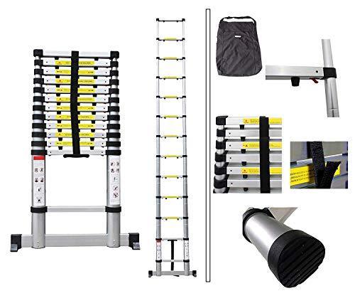 Todeco - Escalera Telescópica, Escalera Plegable - Carga máxima: 150 kg - Número de peldaños: 13-3,8 Metro(s), Bolsa de transporte GRATIS, Brecha extra, EN 131-6, Barra estabilizadora