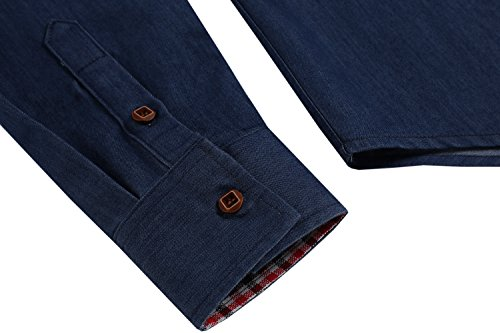Coofandy Jeanshemden Herren regular fit Denim Shirt Langarmhemd Cowboy-Style Freizeit Hemden , Farbe - Dunkelblau , Gr. XL