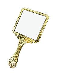 AASA Beautiful Designed Face Hand Makeup Mirror For Women & Girls, Golden, 25 Gram, Pack Of 1 (10864)