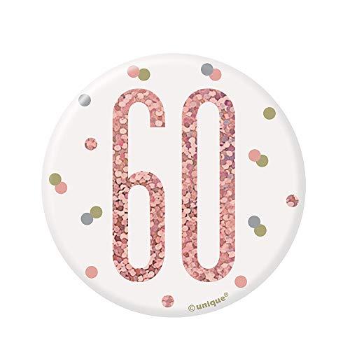 Unique Party 84871 - Insignia de cumpleaños, color oro rosa