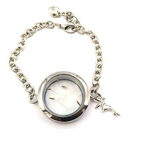 schmuck-stadt Elfen-Wünsche Amulett Armband Silber-Farben mit echten Pusteblumen Samen