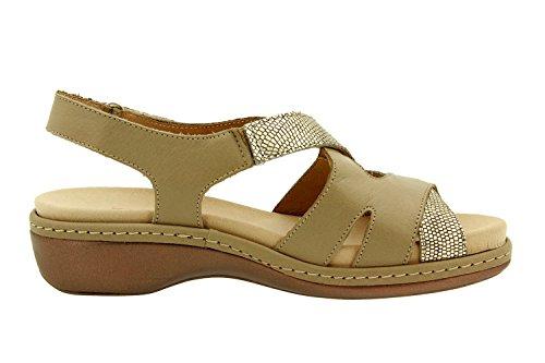 Scarpe donna comfort pelle Piesanto 8813 sandali soletta estraibile comfort larghezza speciale Visón