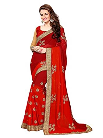 Online Fayda Women's Georgette Saree With Blouse Piece (Of196_Maroon)