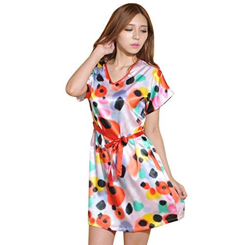 Aivtalk Frauen Imitation Silk Nachthemden Schlafanzüge Nachtwäsche Bademäntel Schlafrock 08