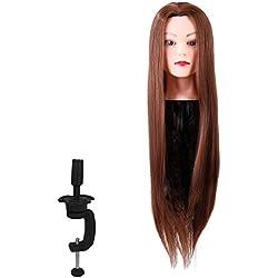 """Têtes d'exercice pour coiffure, 24"""" Long Naturel Tête À Coiffer, Professionnelle Coiffure Femme Mannequin, Beauty Tête de coiffeur pour Shampooing et Tresse"""