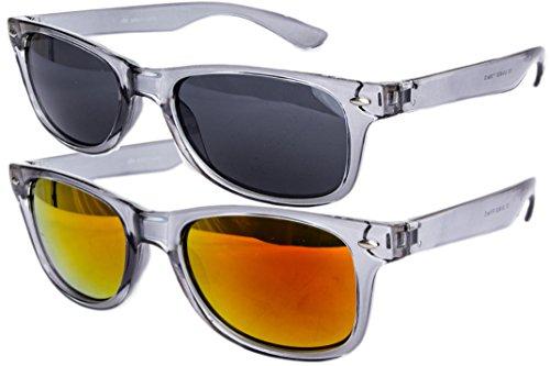 Ciffre 2 er Set EL-Sunprotect® Sonnenbrille Nerdbrille Brille Nerd Transparent Grau Silber