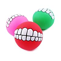 Funny Pet Dog Ball Teeth Silicon Toy Chew Squeaker Squeaky Sound Dogs Play Toys-1 Piece(Color May Vary)