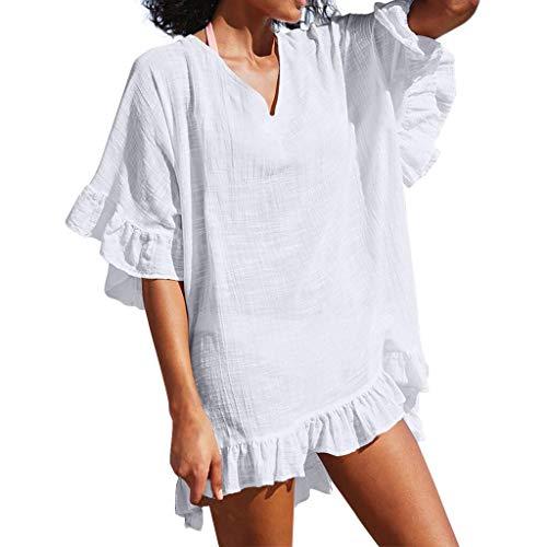 OMSJ Damen Badeanzug mit Rüschen, lockere Abdeckung, Bikini, Strand, Tunika, Top - weiß - Medium
