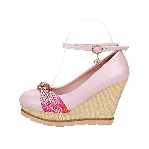 6f2dfc8b1ce08f AllhqFashion Damen Mittler Absatz Gemischte Farbe Schnalle Rund Zehe Pumps  Schuhe Pink