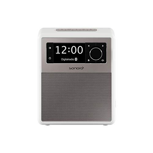 sonoro Easy Digitalradio (UKW/FM/DAB+, AUX-in, USB, Bluetooth) Weiß - Tragbarer Radio-Wecker