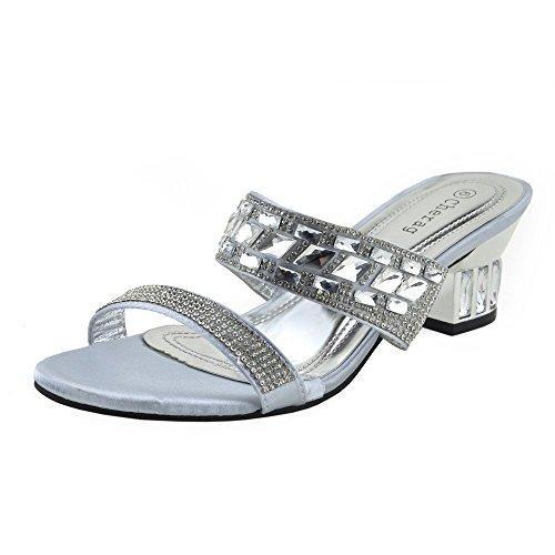 Kick footwear - donna partito abito da sposa ladies tacco basso sandali argento oro - uk4 / eu37, argento