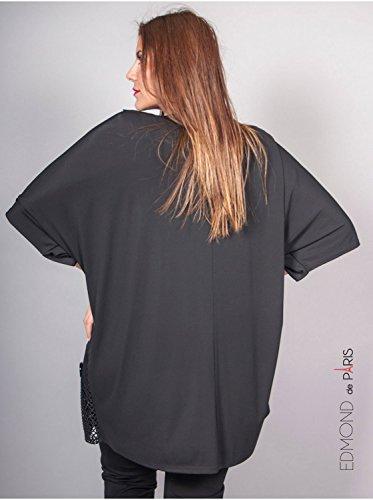 Vêtement Femme Grande Taille Tunique filet Edmond Boublil noire Noir