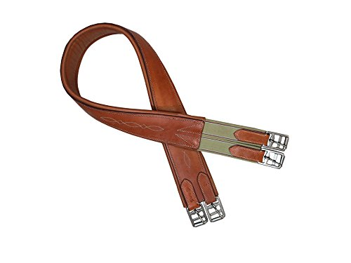 Paris Tack Fancy Stitch English Overlay Gurt für Pferde, weiches australisches Leder (London Tan, 44) Tan-overlay