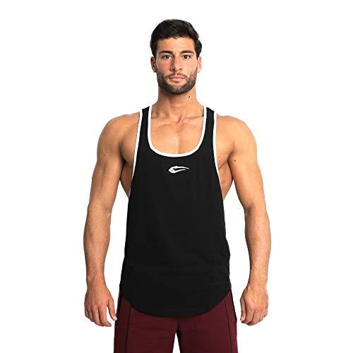 SMILODOX Herren Stringer Pump | Muskelshirt mit Aufdruck für Sport Gym Fitness & Bodybuilding | Muscle Shirt | Tank Top | Unterhemd | Achselshirt | Trainingshirt, Farbe:Schwarz, Größe:XL -