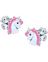 Pink Unicorn Earrings - Glitter - Sterling Silver
