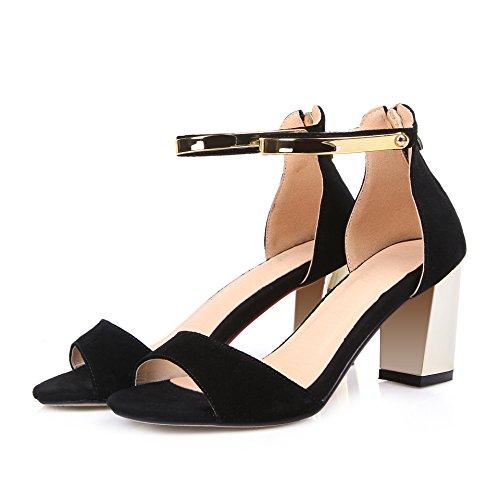 WSS chaussures à talon haut Mode européenne sandale en cuir sandales talons épais percés sandale femme Black