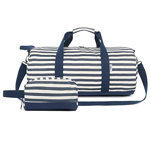 Oflamn Kleine Reisetasche für Männer und Damen - Sporttasche Segeltuch Trainingstasche - Travel Duffel Bag & Sports Gym Bag (1.o Streifen blau gesetzt) - 3 Mittlere Streifen