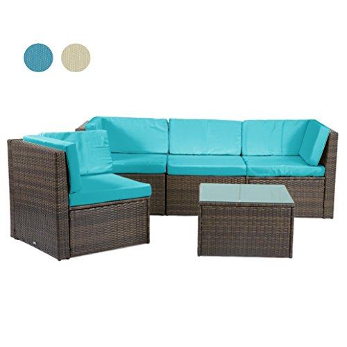 Rattan4Life Madeira Rattan braun / türkis Polyrattan Gartenmoebel Sitzgruppe Lounge Moebel Set Tisch Gartentisch Sessel Sofa Stuhl Kissen Balkon Garten