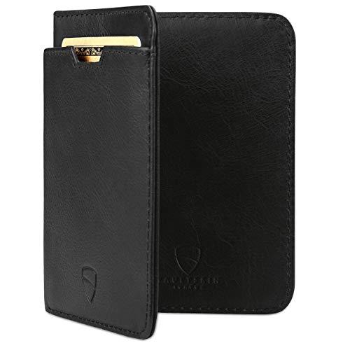 Vaultskin City Geldbörse mit Schutz für RFID Karten - Hochwertiges italienisches Leder - Ultradünne Außentasche und Platz für bis zu 9 Karten und Bargeld (Schwarz) -