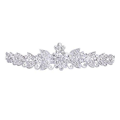 TinkSky Schönen, Glänzenden Kristall Strass Krone Brautschmuck Diadem Haarband mit Kamm) Silberfarben