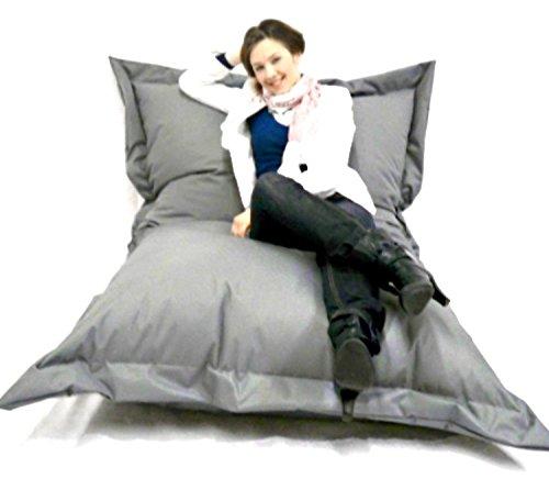 Sitzsack XXL Riesensitzsack 140 x 180 cm mit Füllung in & Outdoor Sitzsäcke Sessel Kissen Sofa Hocker Sitzkissen Bodenkissen (ca.180x140cm, Anthrazit)
