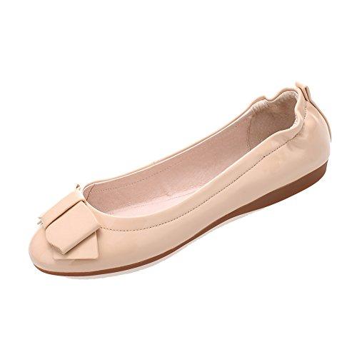 AllhqFashion Damen Ziehen Auf Rund Zehe Ohne Absatz Lackleder Rein Flache Schuhe Aprikosen Farbe