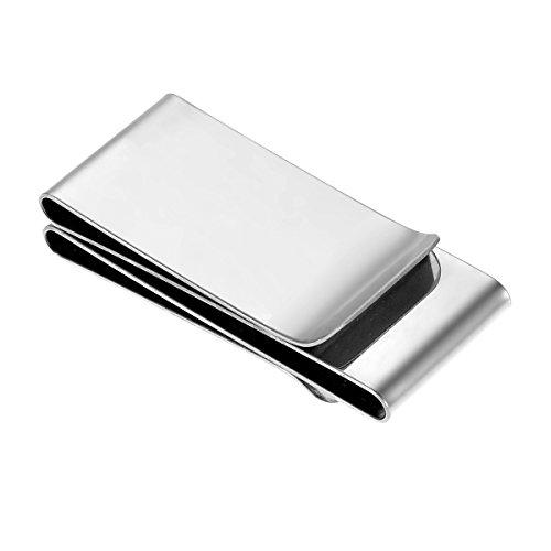 HooAMI HooAMI Edelstahl Geldscheinklammer Geldclip dreiseitig rechteckigen Geldscheinklammer Kartenhalter 60mmx25mm