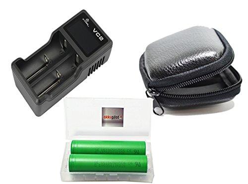 Preisvergleich Produktbild Dampfer Power-Set mit 2x 18650 VTC6 Konion 3000 mAh Akkus in Akkupilot-Box + Xtar VC2 Li-Ion 2-Schacht Ladegerät + hochwertige Cellsafe Schutztasche für Dampferzubehör