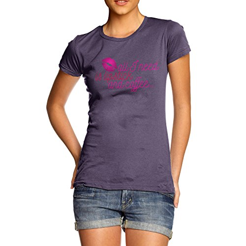 TWISTED ENVY Damen T-Shirt All I Need Is Lipstick And Coffee Print X-Large Pflaume