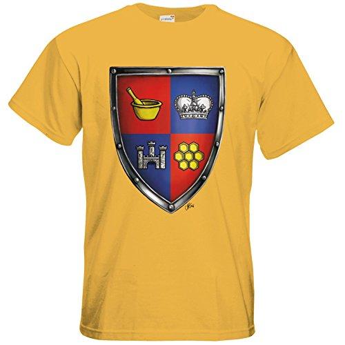 getshirts - Das Schwarze Auge - T-Shirt - Die Siebenwindküste - Wappen - Honingen Gold