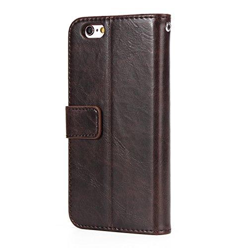 iPhone 7 Plus Hülle Leder, E-Lush Premium PU Leder Tasche für iphone 7 8 Plus(5.5 Zoll ), Einfach Einfarbig Muster Klapphülle 360 Full Body Protection Flip Case Wallet Cover Weiche Flexible TPU Soft R braun