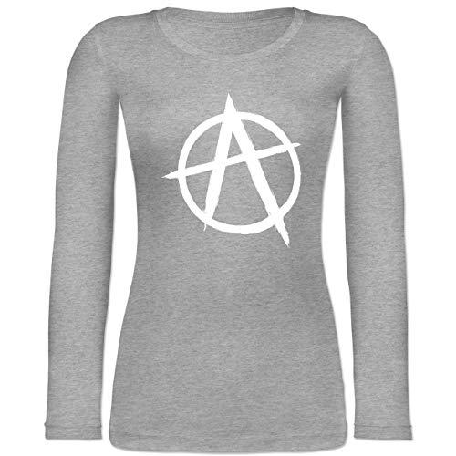 Festival - Anarchie A - XS - Grau meliert - BCTW071 - Langarmshirt Damen (Anarchie-shirt Für Frauen)